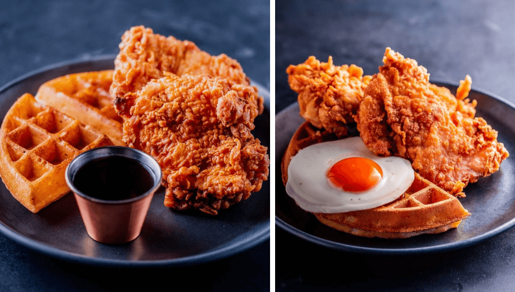 Chicken and waffles at Dirty Bones London