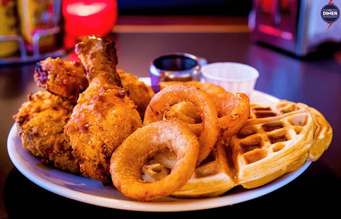 Chicken, waffles and onion rings at The Diner London