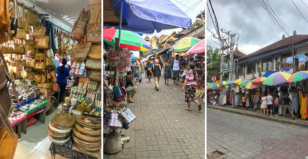 Colourful stalls at Ubud craft market Bali