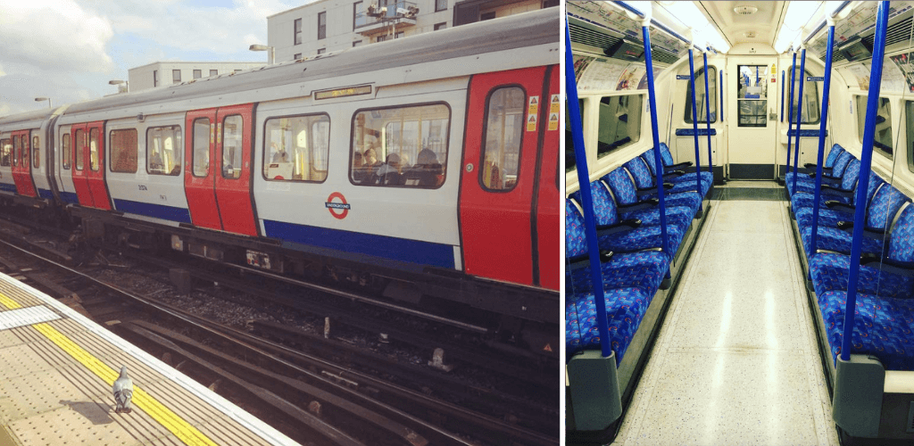 London Underground, tube from outside and empty interior