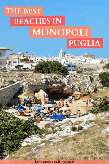 The best beaches in Monopoli Puglia Italy pin