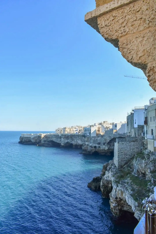 Caves in the cliff face of Polignano a Mare Italy