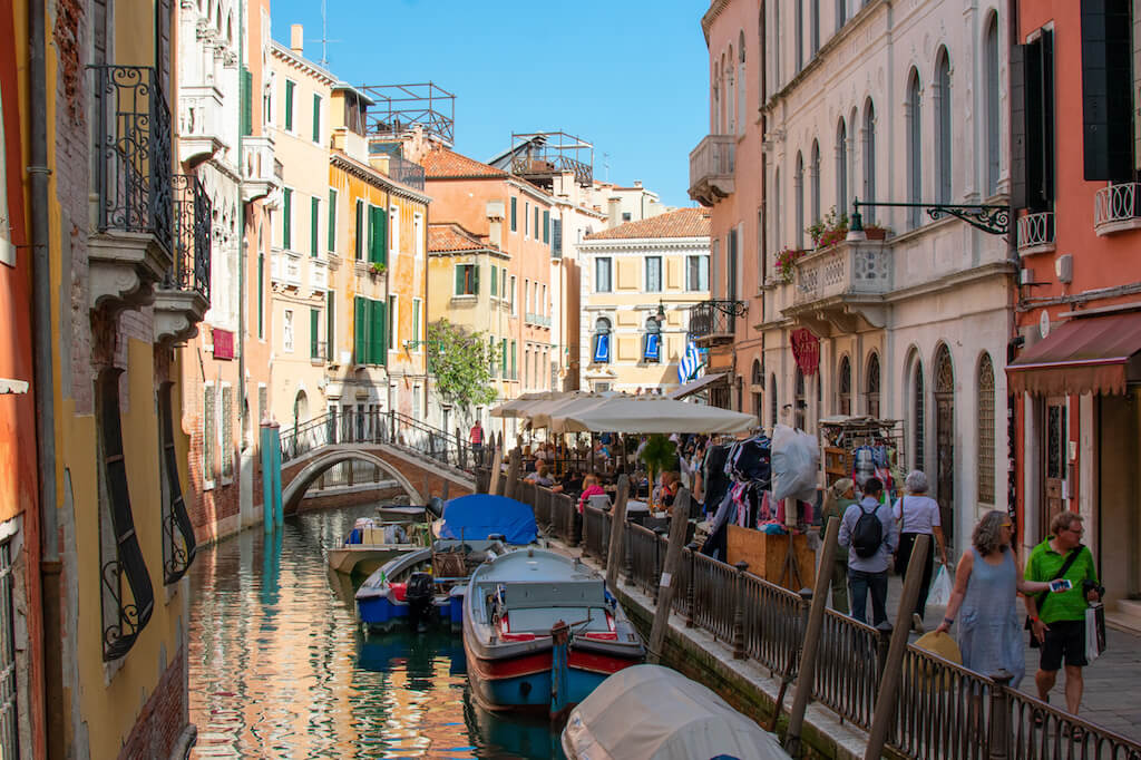 Busy canal in Venice Italy