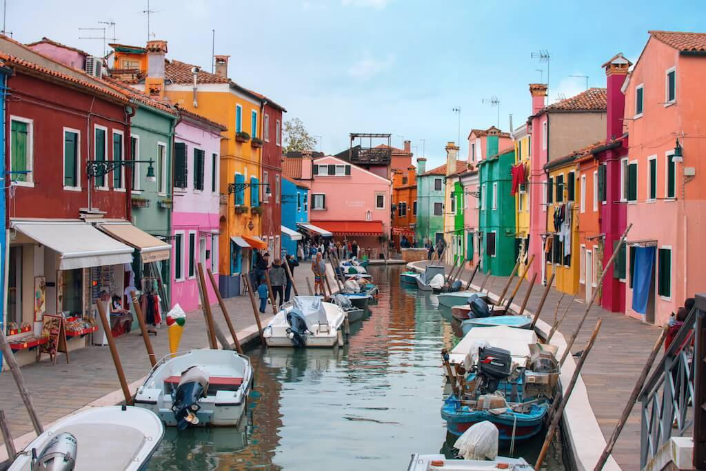 Colourful houses on the island of Burano in Venice