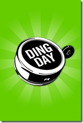 Ding day logo with bicycle bell on a green background