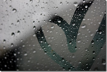 rain on window with heart drawn