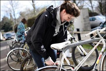 Woman using cyclist facilities
