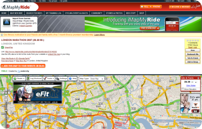 MapMyRide route website