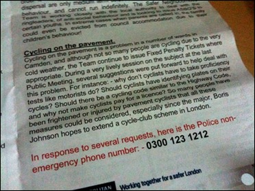 Cycling on the pavement screenshot of text from police briefing
