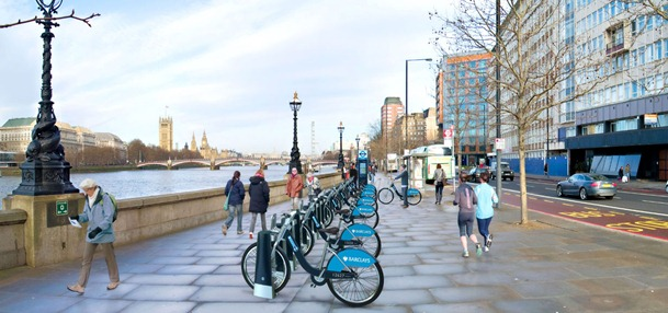 Barclays cycle hire scheme showing the branding