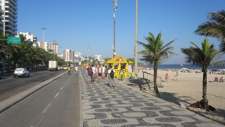 The famous curved pavement designs and the two lane cycle path in Rio de Janeiro