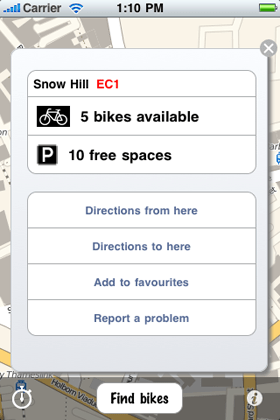information about cycle hire locations