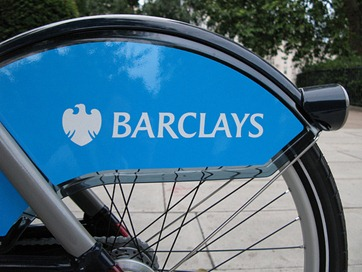 Boris bike rear wheel with Barclays logo