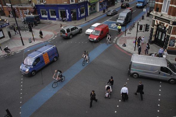 Aerial Shot of Tooting Bec junction of cycle superhighways