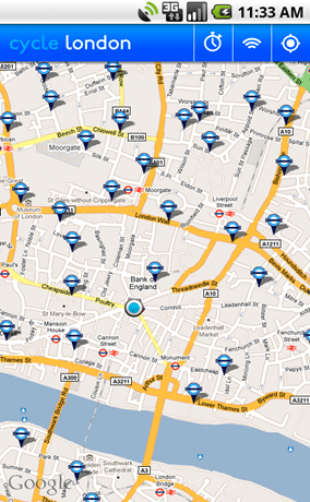 Cycle hire app for the Android showing locations map
