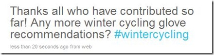 winter cycling glove recommendations twitter