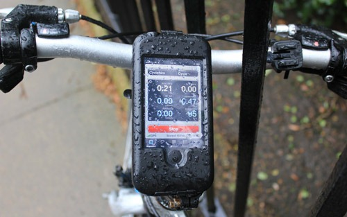 Tigra iPhone bike mount with water on the cover