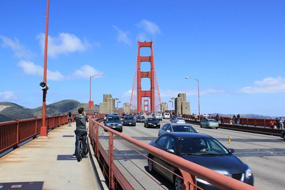 On the golden gate bridge in San Francisco