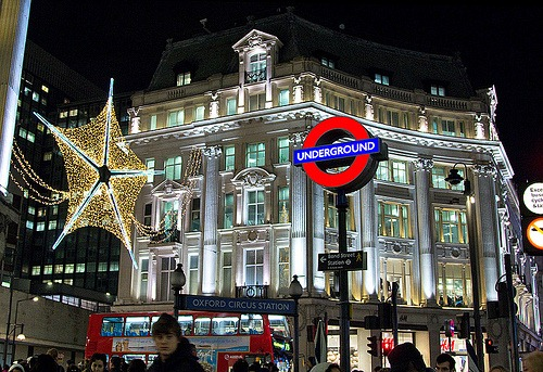 Oxford circus lights at Christmas