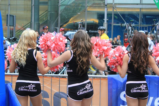 Cheerleaders supporting the Halfords event