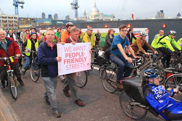 We want people friendly streets sign held at Blackfriars Protest