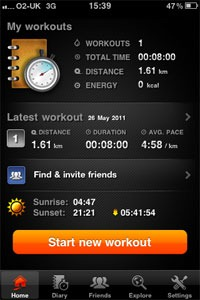 Sports tracker starting screen