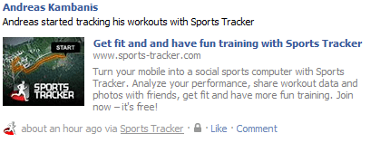 Sports Tracker mentioned on Facebook