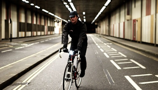Rapha jacket shown in London on road