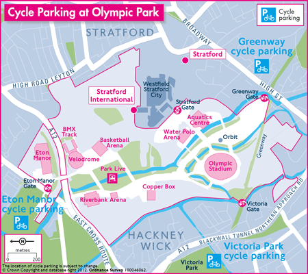 Cycling map of the Olympics in London