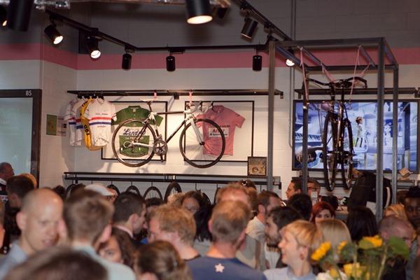 Rapha cycling cafe bike on the wall