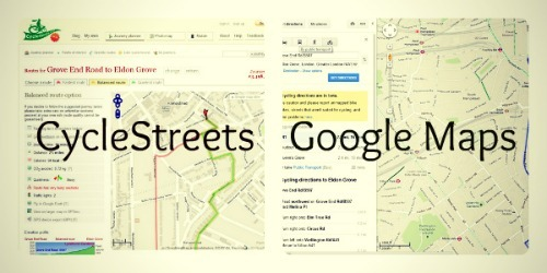 A screengrab from the CycleStreets website and the Google Maps website