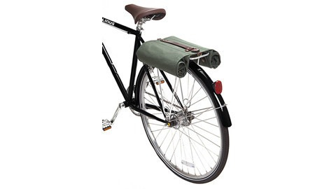 Folded up pannier on a bike