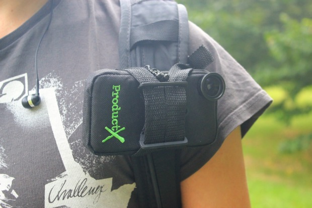 Product X POV iPhone case attached to bag