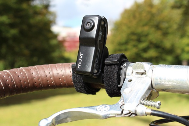 Veho helmet camera attached to bicycle handlebars