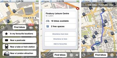 Cycle hire iPhone app