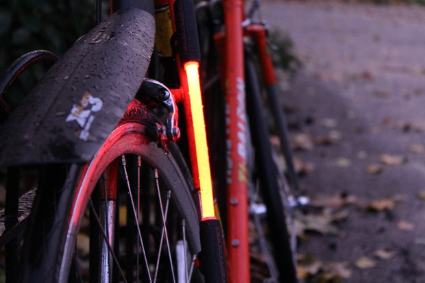 Fibre flare connected to back of bike