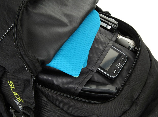 View inside front pocket on DHB Slice