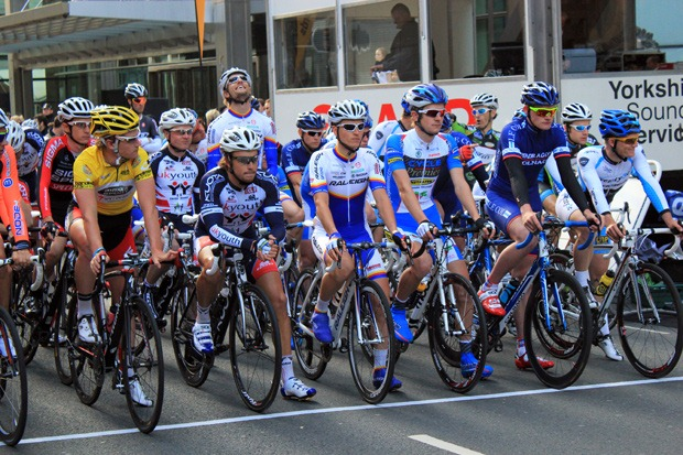 Cyclists waiting for a race to start