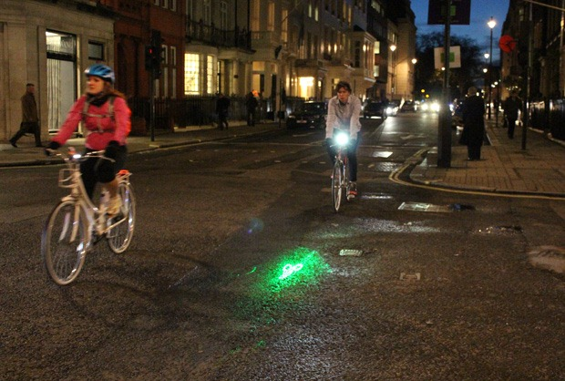 Cyclist with blaze bike light