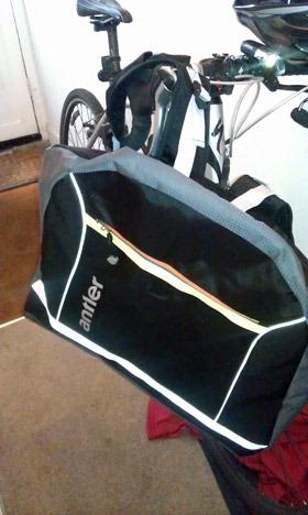Antler bag next to bike