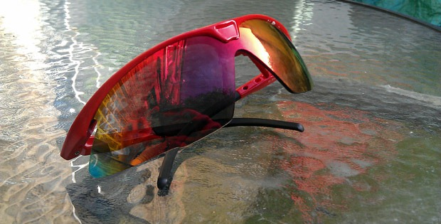 DHB Pro Tripple lens sunglasses on table