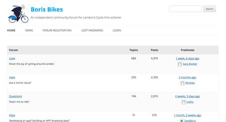 Boris Bike forum screenshot