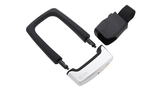 Product view of the Knog Strongman bike lock coloured black and white