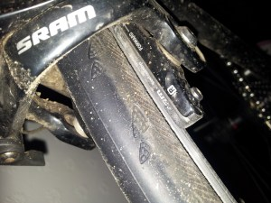 Here's an example of brake pads that could do with replacing - and the amount of grit that can get washed up on one ride.