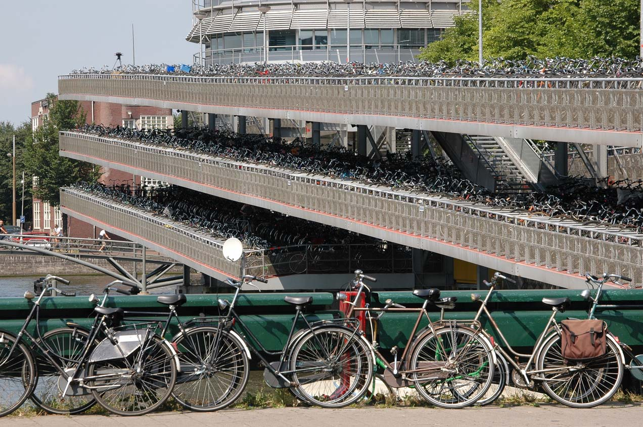 Multi-story bike parking at Amsterdam Central Station. Image from Wikimedia