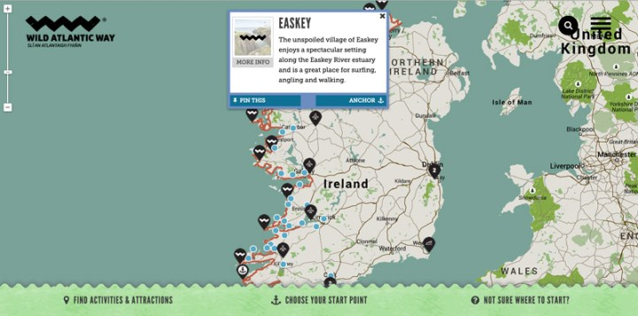 Easkey area selected from the map of the route