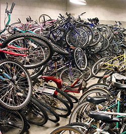 Messy pile of bikes