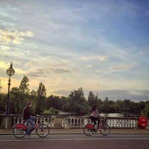 Boris bike riders in Hyde Park