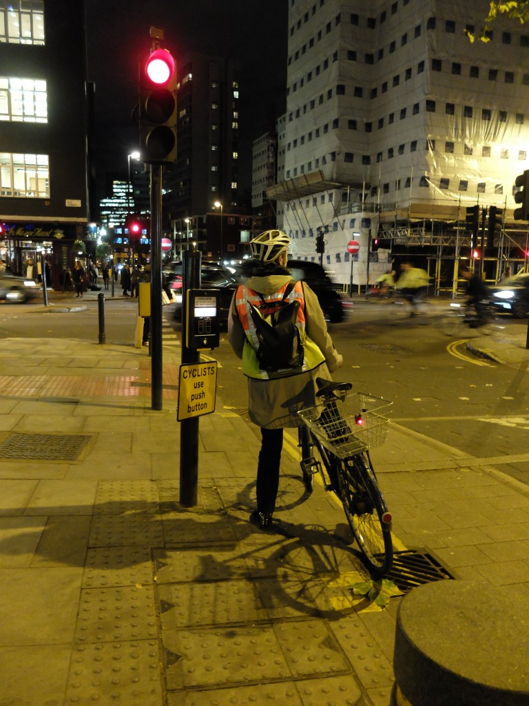 cyclist at lights