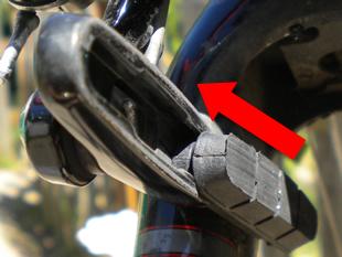 Inserting new brake pad